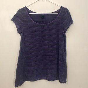 Women's prAna Purple Striped Loose Yoga Tee S
